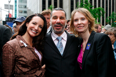 Kristin Davis, Gov. David Patterson and Cynthia Nixon