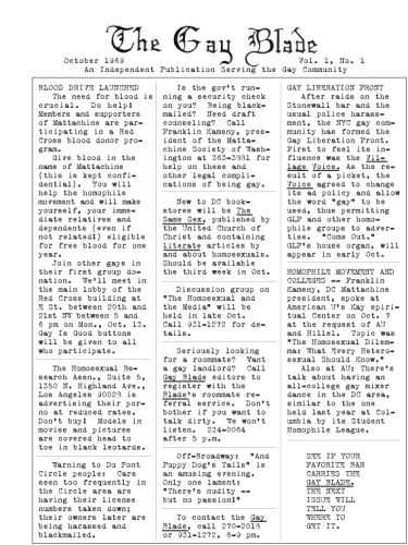 The Gay Blade's First Issue Ever in 1969