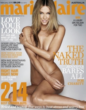 Jennifer Hawkins on the cover of February's Australian Marie Claire