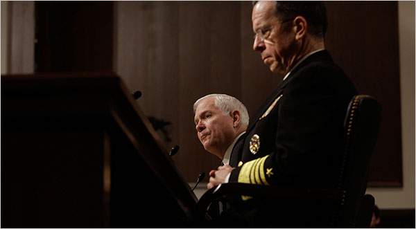 Defense Secretary Robert M. Gates, left, and Adm. Mike Mullen, the chairman of the Joint Chiefs of Staff, testified Tuesday at the Senate Armed Services Committee hearing in Washington.