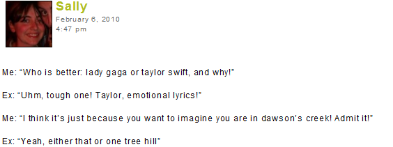 Who cries more, Taylor Swift or Dawson Leery?