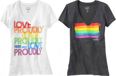 """Gay Pride t-shirts for men, women, and babies with messages like """"Love Proudly"""" or """"Pride """" have arrived at select Old Navy stores across the United States. Now through the end of June – or until supplies sell out – consumers can buy a variety of tees for anywhere from $ to $"""