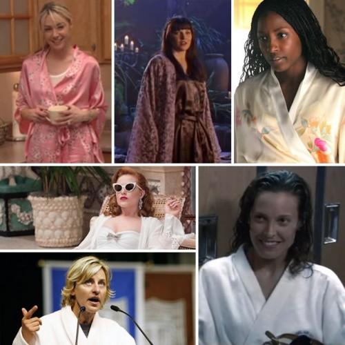 Lesbians in bathrobes having sex