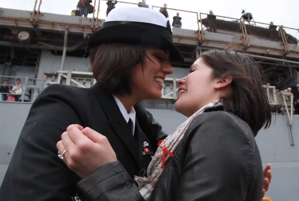 Too navy lesbian kiss what necessary