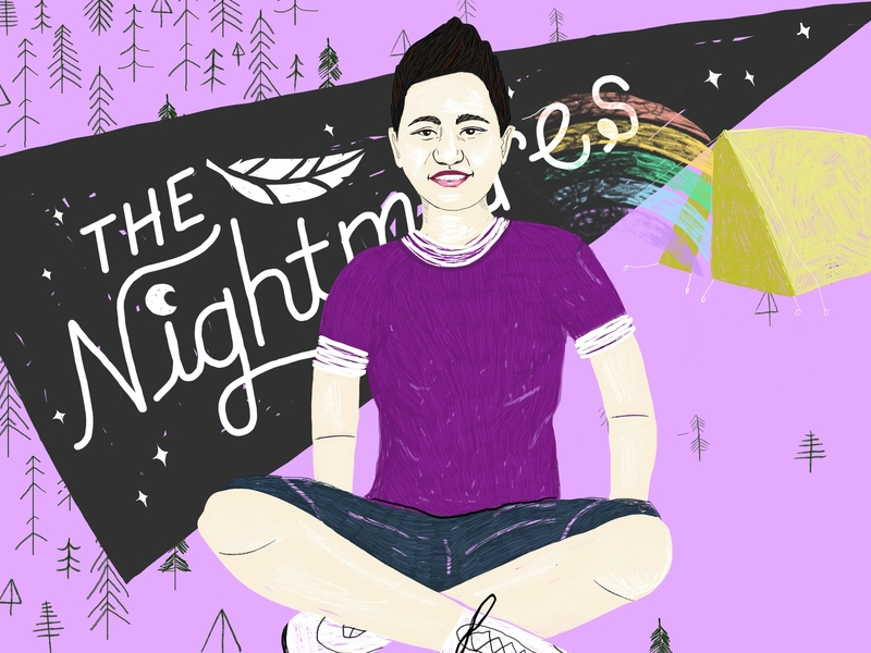 """Podcast Art for Nancy Podcast–Illustration of Kathy Tu with """"The Nightmares"""" pennant banner behind her."""