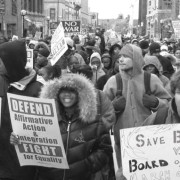 Students rallying for affirmative action in Ann Arbor, Michigan in 2003. via umich.edu