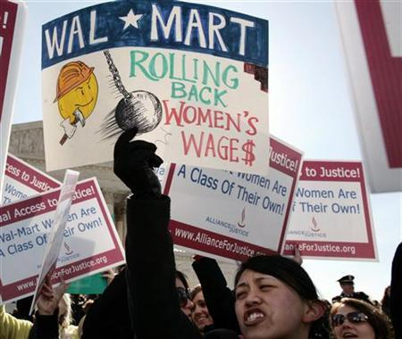 walmart vs dukes Respondents, current or former employees of petitioner wal-mart, sought judgment against the company for injunctive and declaratory relief, punitive damages, and backpay, on behalf of themselves and a nationwide class of some 15 million female employees because of wal-mart's alleged discrimination against women.