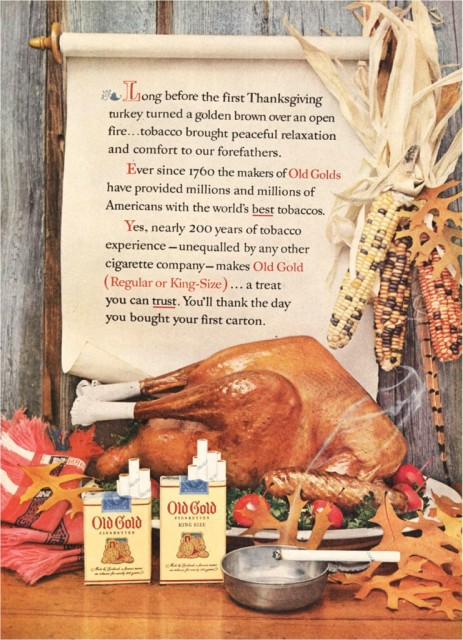 19 Strange Thanksgiving Dinner Ideas From Vintage Ads 1 Old Gold Cigarettes W Turkey