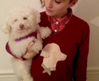 gabrielle with a dog and a sweater
