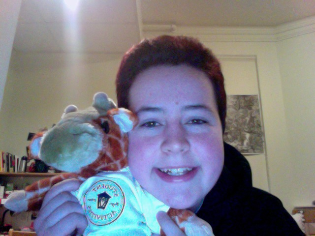 Bryn Mawr had a free Build a Bear event in the Campus Center. This is me with the stuffed giraffe I made, named Hank! My roommate and I have matching giraffes and it's really cute.