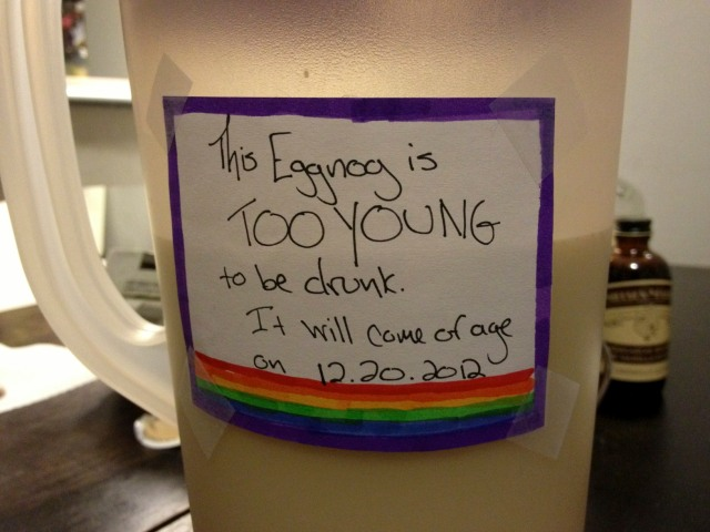 this eggnog is too young to be drunk