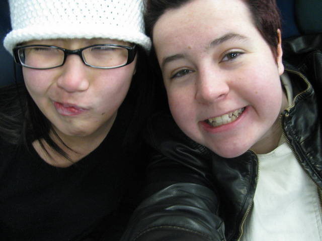My friend Ariel and I on the Long Island Rail Road home from New Years' Eve in Times Square. Neither of us knows how to take normal pictures.