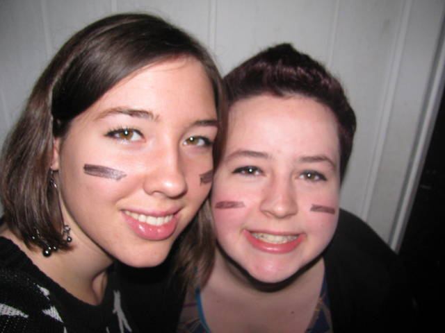 My friend MacKenzie stayed at my house for a few days after Christmas. We painted black lines on our faces in preparation for laser tag.