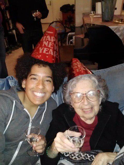 Ringing in the new year with grandma!