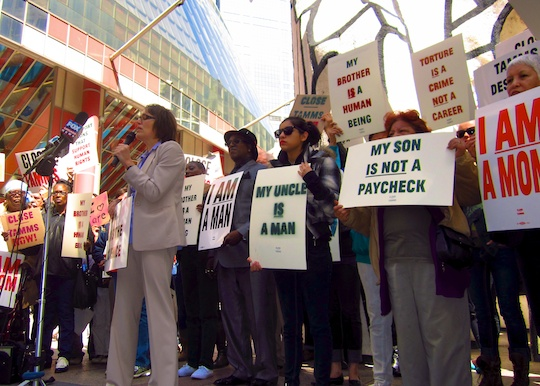 protestors outside Tamms last April