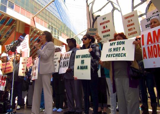 protestors outside Tamms last April