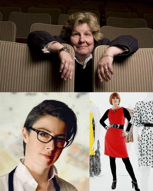 top: Sandi Toksvig, bottom left: Sue Perkins, bottom right: