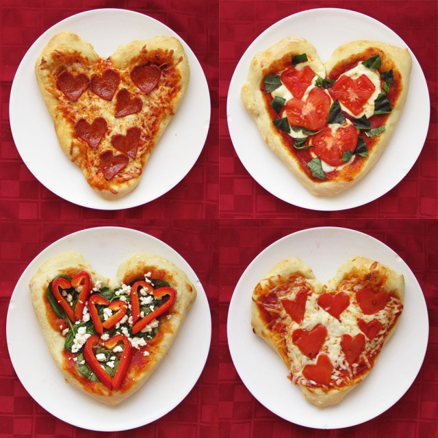 Four Heart Shaped Pizzas reduced