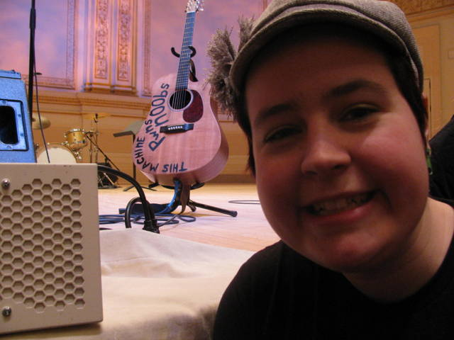 Me with Hank's guitar at Carnegie Hall before An Evening of Awesome started!
