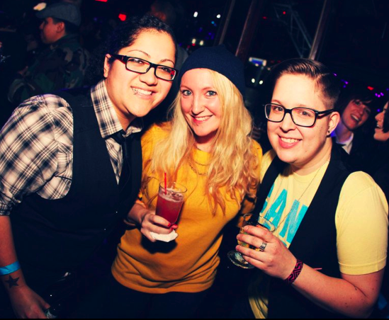 me, straight homegirl, Angie and Emily Hall Smith of Hot Rabbit