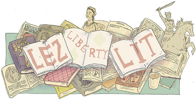 "Graphic art of the ""Lez,"" ""Liberty,"" and ""Lit"" written across three books."