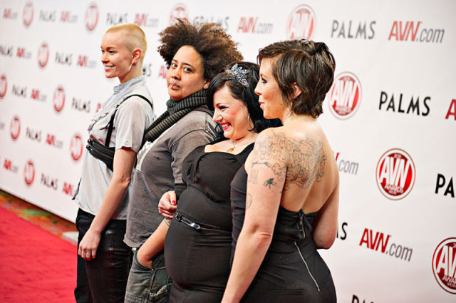 Jiz Lee, Sine Louise, Courtney Trouble and Tina Horn at the AVN 2012.  photo: Jeff Koga. via Jiz Lee's website