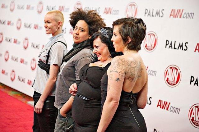 Jiz Lee, Sine Louise, Courtney Trouble and Tina Horn at the AVN 2012.  photo: Jeff Koga. via Jiz Lee's website