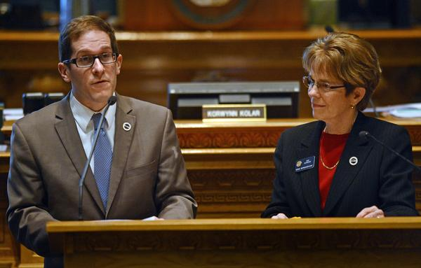 """House Speaker Mark Ferrandino, D-Denver, left, and Rep. Sue Schafer, D-Wheat Ridge, both gay, sponsored Senate Bill 11, allowing same-sex couples to form civil unions."" via {The Denver Post}"