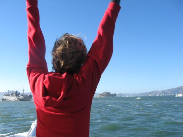 on the ferry to alcatraz