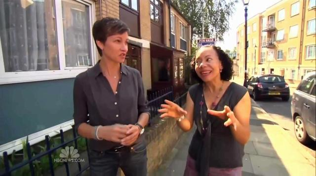 stephanie gosk interviewing a person in the UK