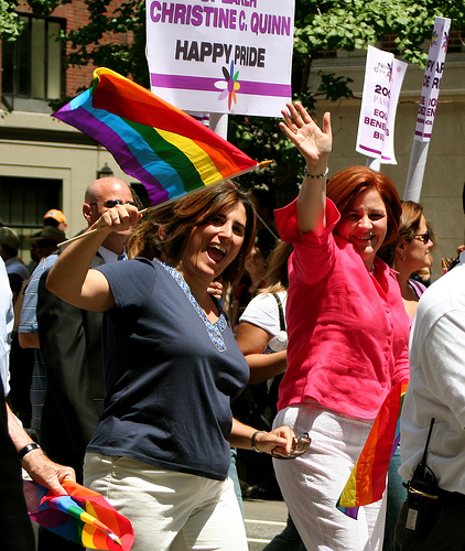 CHRISTINE QUINN AT THE NYC PRIDE PARADE {VIA BOSS TWEED}