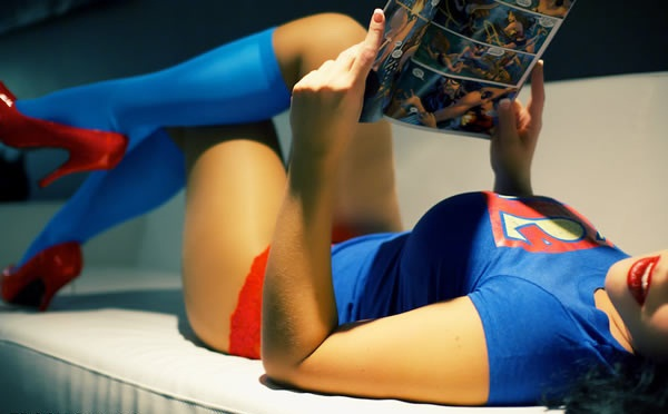 reading in superman underpants