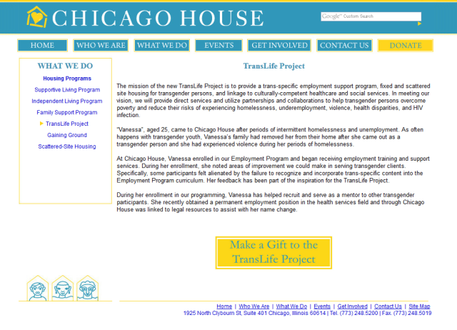 The Chicago House's website for the TransLife Project.