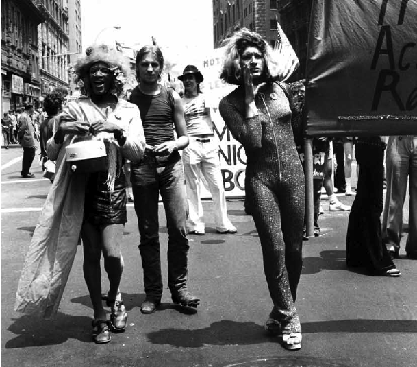 Marsha P. Johnson and Sylvia Rivera marching for the Street Transvestite Action Revolutionaries (STAR) at 1973 Christopher Street Liberation Day March.
