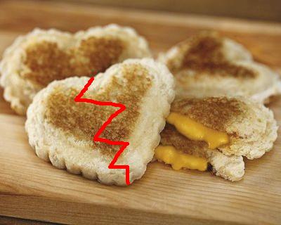 broken grilled cheese heart