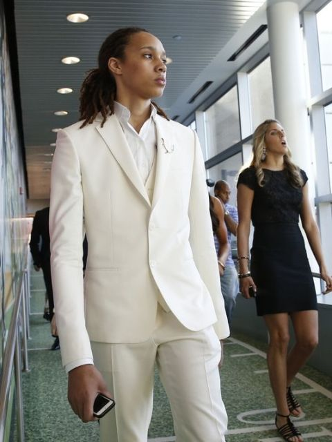 Brittney Griner (L) and Elena Delle Donne (C) at the main ESPN Campus in preparation for tonight WNBA Draft. ((Photo: David Butler II, USA TODAY Sports)