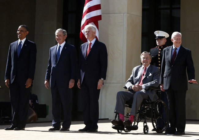All five living presidents at the opening of the George W. Bush Presidential Library via The Atlantic