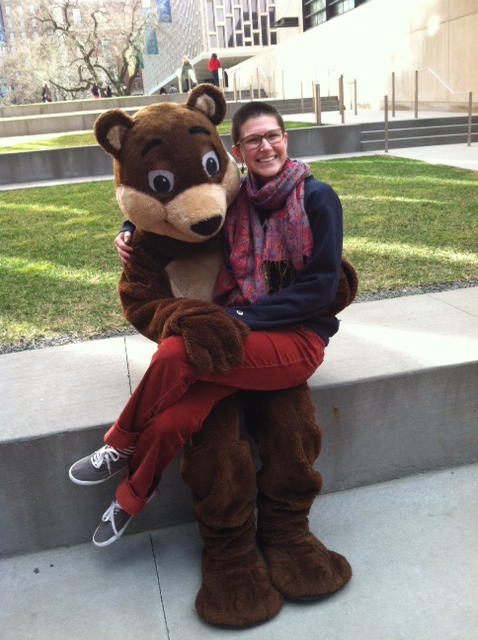 Maddy, 22 with Barnard's mascot Millie