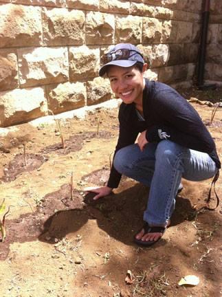 Ciera planting a taro patch