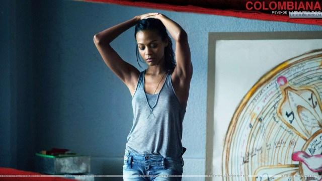 Colombiana-Zoe-Saldana-In-Grey-Top-Blue-Jeans