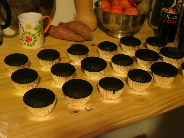 chocolate cupcakes and teacups and gourds!