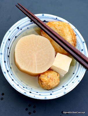 Daikon, fishcakes and tofu via Open Kitchen Concept