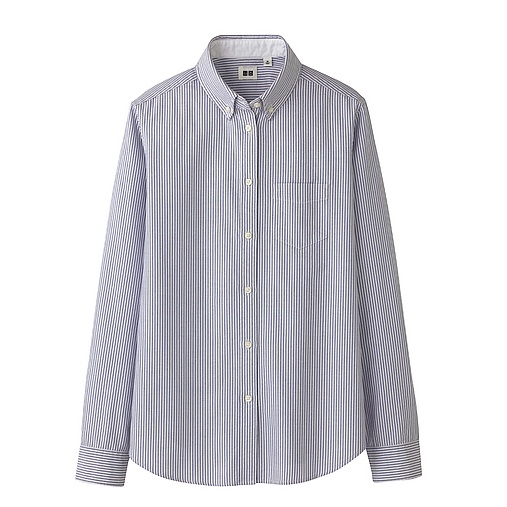 OXFORD STRIPE LONG SLEEVE SHIRT via uniqlo
