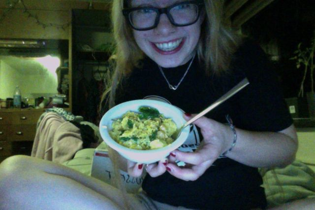 Exhibit C: The first successful meal of rice, tofu, curry powder, spinach, and chickpeas.