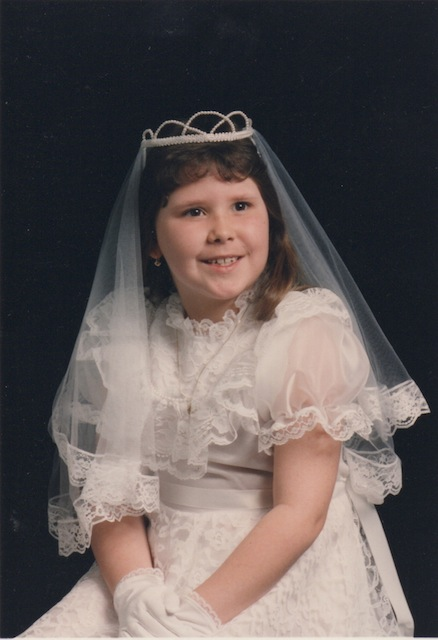 this is jackie at her first communion do you die because frankly i am dead right now omg