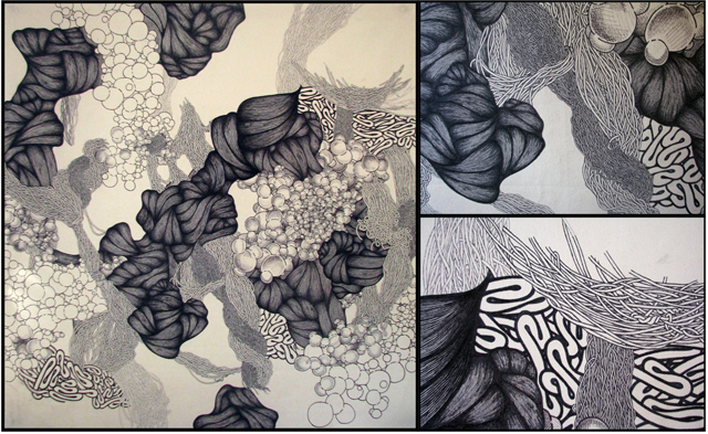 """Anna, 2013. Sharpie on Canvas, 66"""" x 60"""". Image on left is full canvas, images on right show detail. By Lauren."""