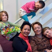 Kate Coghlan (left) and Susan Rennie with their children Hannah, 8, Anouk, 5, (top) and Xavier, 6. Photo: Joe Armao  via: http://www.theage.com.au/victoria/tick-for-samesex-families-20130605-2npxf.html#ixzz2VYhvqJQc