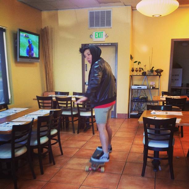 grace killing some time at her restaurant