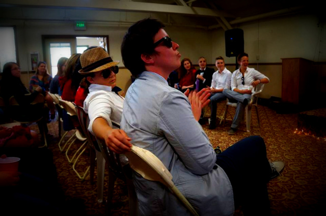 fashionistas in the front row at the angelus oaks fashion week show