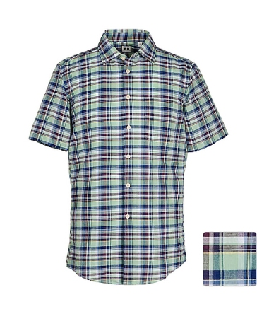 COTTON LINEN MADRAS CHECK SHORT SLEEVE SHIRT, available at uniqlo